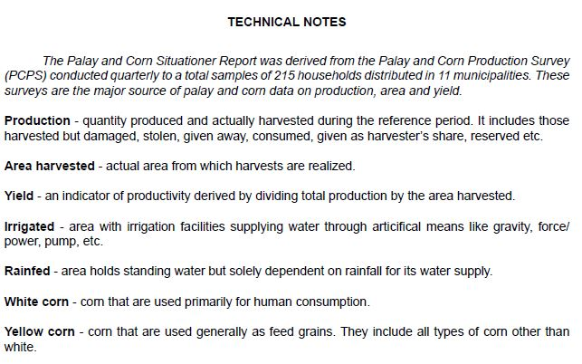 Palay And Corn Situation Report  Philippine Statistics Authority